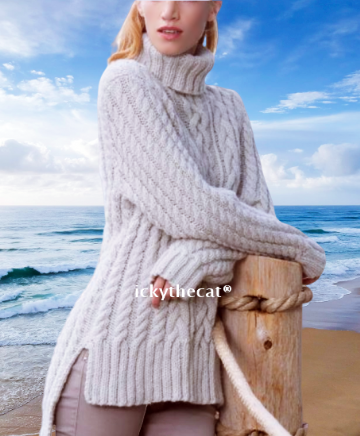 PDF Digital Download Vintage Knitting Pattern Women's Aran Style Chunky Cable Sweater/Jumper/Tunic